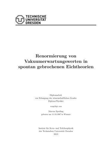 Renormierung von Vakuumerwartungswerten in spontan ...