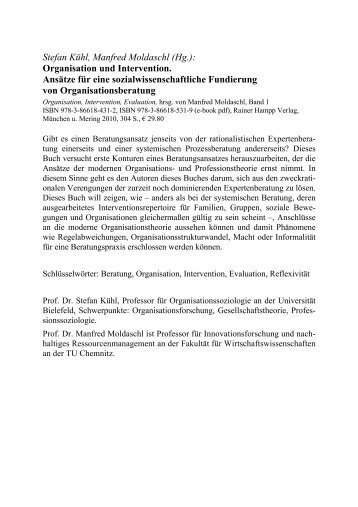 Stefan Kühl, Manfred Moldaschl (Hg.): Organisation und ... - Buch.de