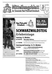 Mitteilungsblatt M 6930 - Bad Peterstal-Griesbach im Schwarzwald ...