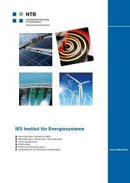 IES Institut für Energiesysteme - ntb interstaatliche hochschule für ...