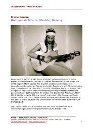 Marie Louise Komponist, Gitarre, Ukulele, Gesang - Jazz Booking