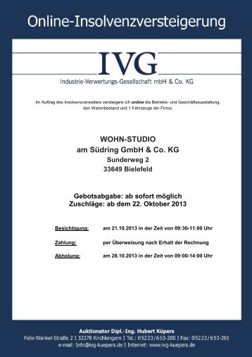 WOHN-STUDIO am Südring GmbH & Co. KG - IVG mbH & Co. KG