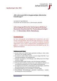 Impulsvortrag von Pastor Dr. Ingo Habenicht - Johanneswerk