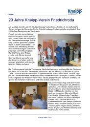 20 Jahre Kneipp-Verein Friedrichroda - Kneipp-Bund e.V.