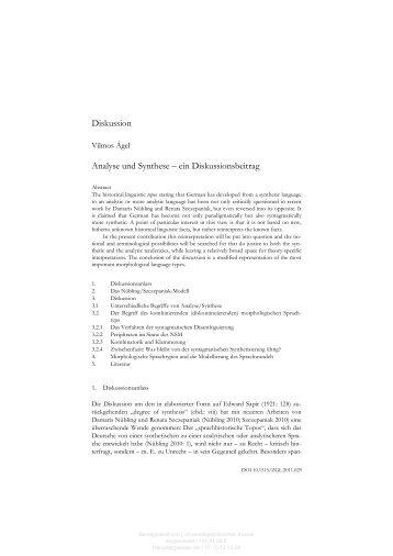 Diskussion Analyse und Synthese – ein Diskussionsbeitrag - KOBRA
