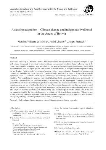 Assessing adaptation – Climate change and indigenous ... - KOBRA