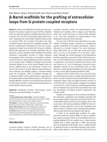 β -Barrel scaffolds for the grafting of extracellular loops ... - KOBRA