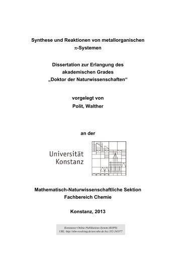 Synthese und Reaktionen von metallorganischen π-Systemen - KOPS