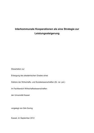 Interkommunale Kooperationen als eine Strategie zur ... - KOBRA