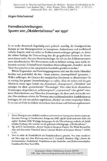 """Spuren von """"Okzidentalismus"""" vor 1930 - KOPS"""