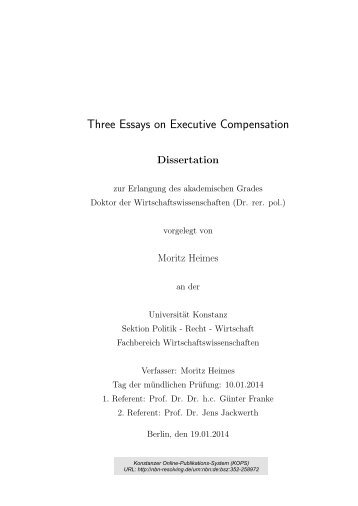 Three Essays on Executive Compensation - KOPS - Universität ...