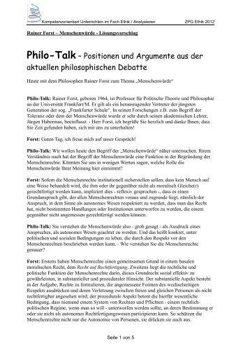 Rainer Forst – Menschenwürde - Lösungsvorschlag