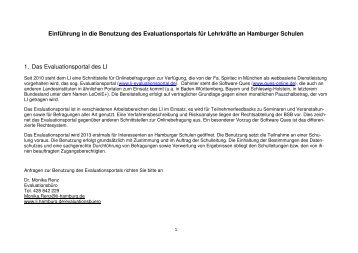 Anleitung Evaluationsportal für Lehrkräfte - Hamburg