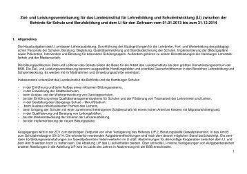 Ziel- und Leistungsvereinbarung für die Schuljahre 2013/14