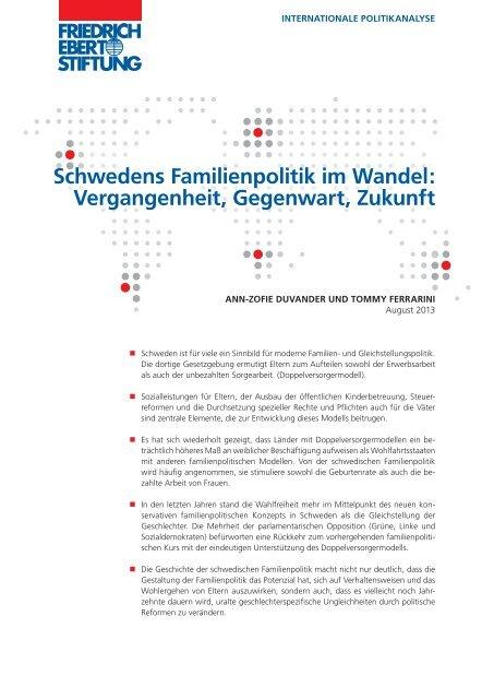 Schwedens Familienpolitik im Wandel - Bibliothek der Friedrich ...