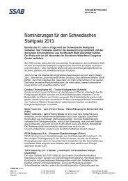 Nominierungen für den Schwedischen Stahlpreis 2013 - Cision