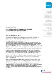 Scheeßel, 26.07.2012 Öko-Test-Urteil 'sehr gut' für MAM Perfect ...