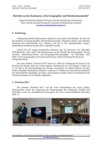 """Berichte zu den Seminaren """"Neo-Geographie und Metakartosemiotik"""""""