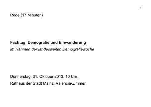 Demografie und Einwanderung - Ministerium für Integration, Familie ...