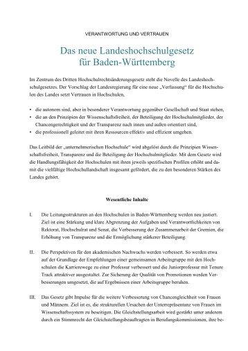 Kurzübersicht LHG [PDF 60 KB] - Ministerium für Wissenschaft ...
