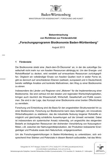 Förderrichtlinien Forschungsprogramm Bioökonomie [PDF 278 KB]