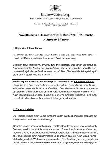 Kulturelle Bildung - Ministerium für Wissenschaft, Forschung und ...