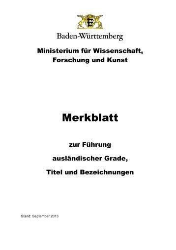 Merkblatt - Ministerium für Wissenschaft, Forschung und Kunst Baden