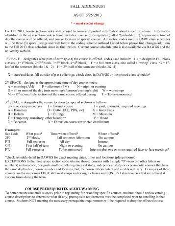 FALL ADDENDUM AS OF 6/25/2013