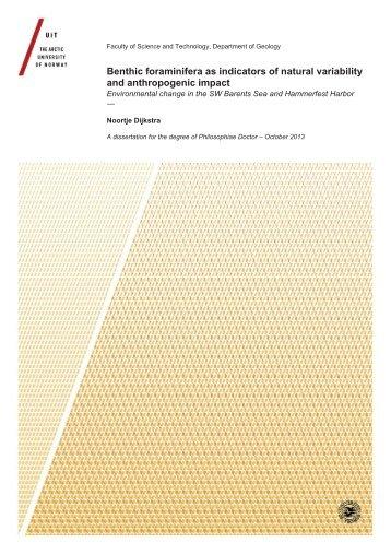 Benthic foraminifera as indicators of natural variability and ... - Munin