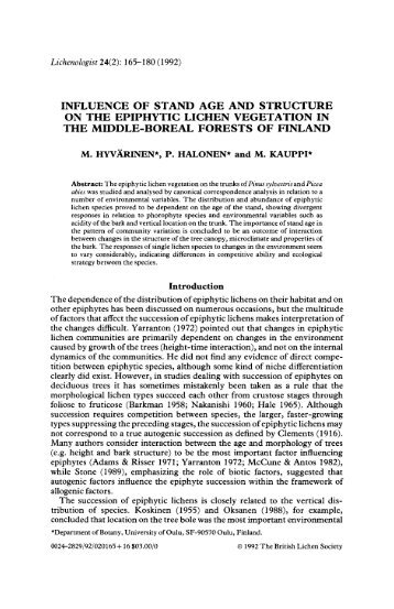 Influence of Stand Age And Structure on the Epiphytic Lichen ...