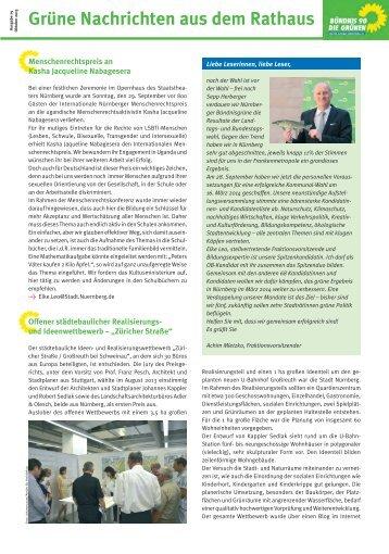 Grüne Nachrichten aus dem Rathaus Oktober 2013 - Stadt Nürnberg