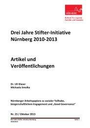 Drei Jahre Stifter Initiative 2010-2013 - Stadt Nürnberg