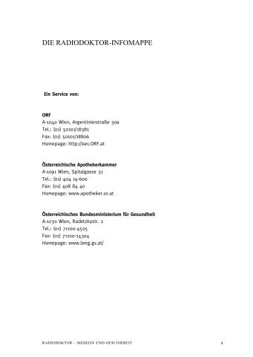 Gesundheitsreform - Online-Infomappe - Ö1 - ORF