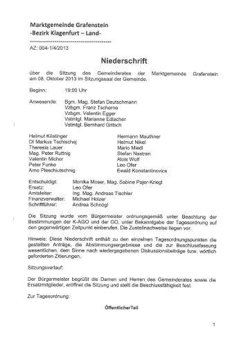 Marktgemeinde Grafenstein -Bezirk Klagenfurt - Land