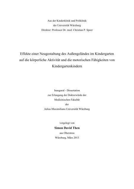 Effekte einer Neugestaltung des Außengeländes ... - OPUS Würzburg
