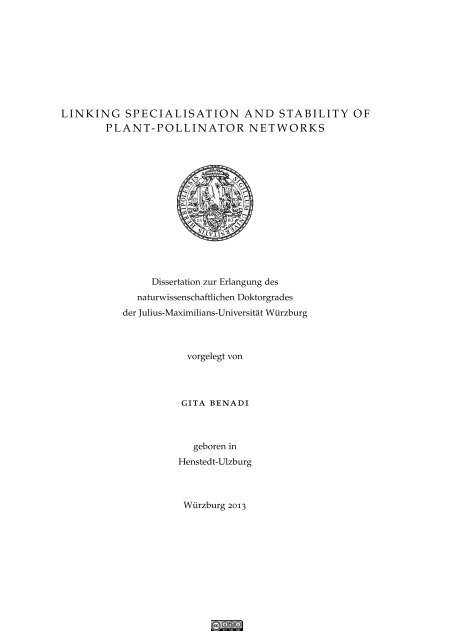 Linking Specialisation and Stability of Plant ... - OPUS Würzburg