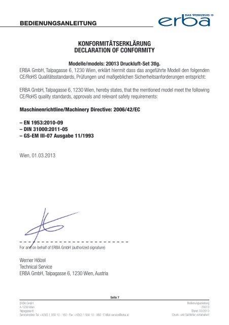 Bedienungsanleitung - Erba