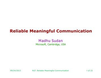 Reliable Meaningful Communication - People.csail.mit.edu