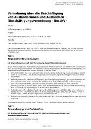 Beschäftigungsverordnung - BeschV
