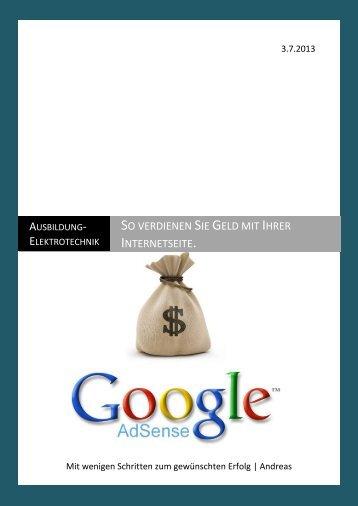 Geld verdienen mit der eigener Internetseite - Ausbildung ...