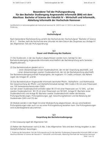 Besonderer Teil der Prüfungsordnung für den Bachelor ... - Fakultät IV