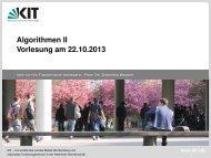 Vorlesung Algorithmen II - Algorithmik I - Karlsruher Institut für ...