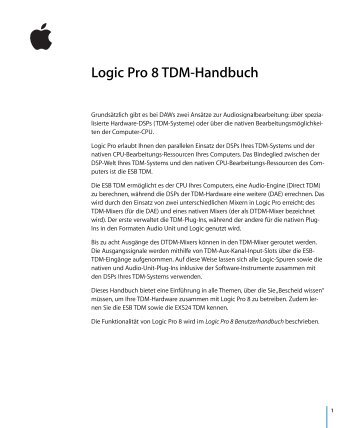 Logic Pro 8 TDM-Handbuch - Support - Apple