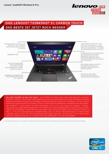 Das Lenovo® thinkPaD® X1 carBon touch - Icecat.biz
