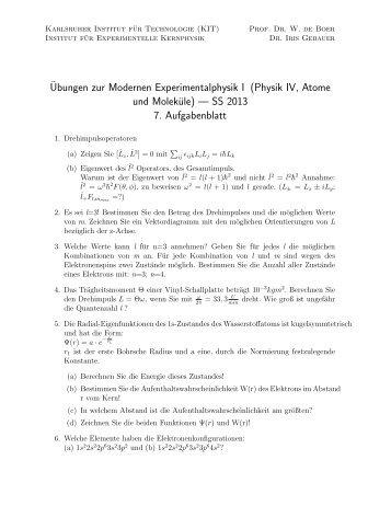 Ubungen zur Modernen Experimentalphysik I (Physik IV, Atome und ...