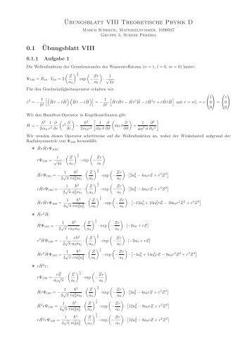 ¨Ubungsblatt VIII Theoretische Physik D 0.1 ¨Ubungsblatt VIII