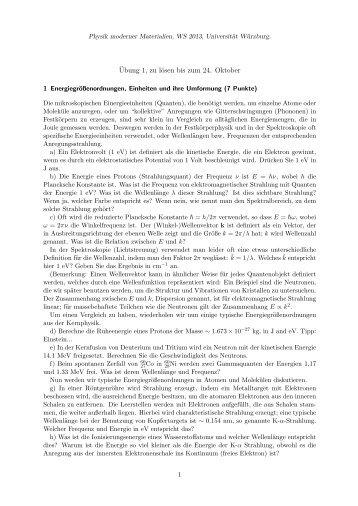 ¨Ubung 1, zu lösen bis zum 24. Oktober - Universität Würzburg
