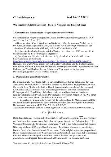 67. Fortbildungswoche Workshop 27. 2. 2013 Wie Segeln (wirklich ...