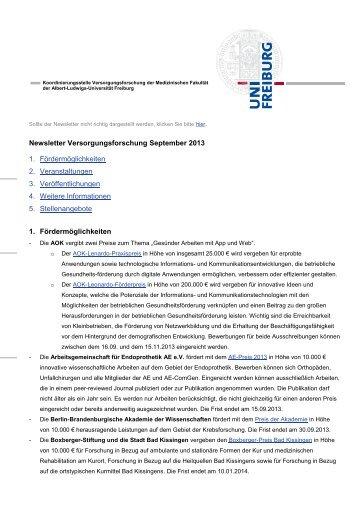 Schnellzugriff - Albert-Ludwigs-Universität Freiburg