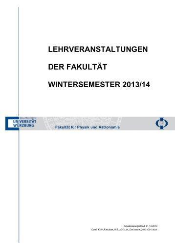 Studiengangspezifisches Lehrveranstaltungsverzeichnis der Fakultät